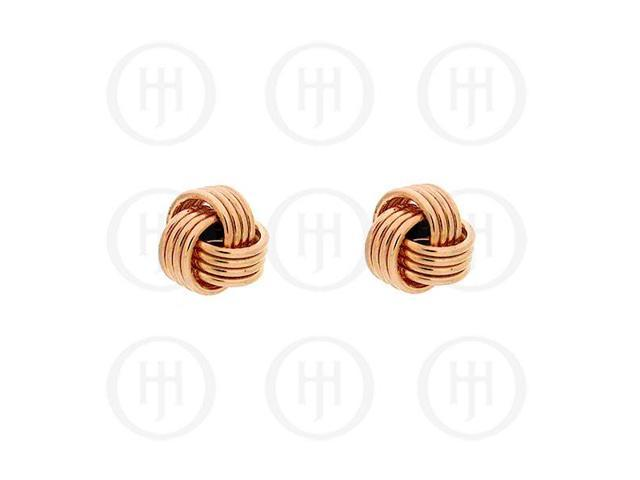 Sterling Silver Stud Knot Rose Colour Earrings 7mm
