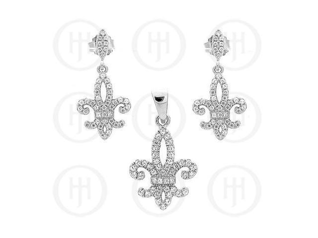Sterling Silver Micro Pave Fleur De Lis Earrings Pendant Set