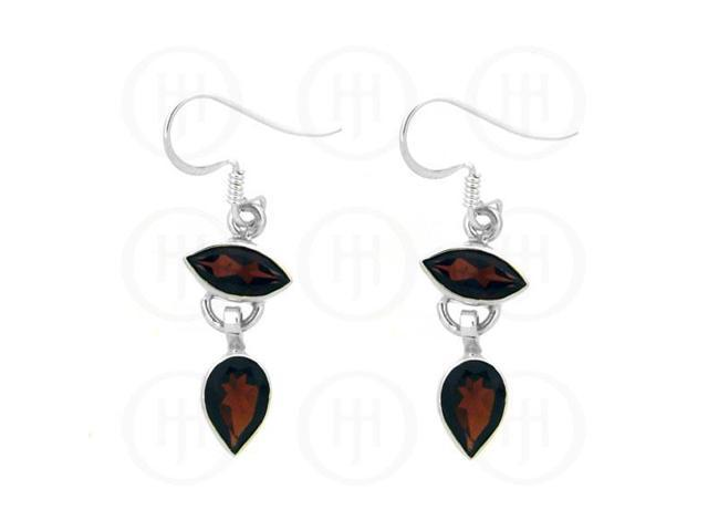 Sterling Silver Stone Earrings Garnet Square