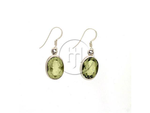 Sterling Silver Stone Earrings Green Amethyst
