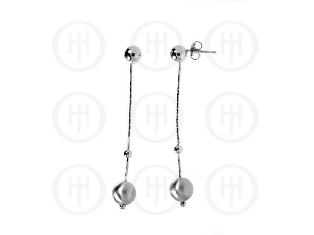 Sterling Silver Rhodium Plated Ball Dangle Earrings