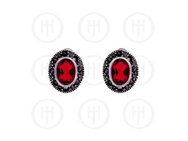 Sterling Silver Marcasite EarringsGarnet