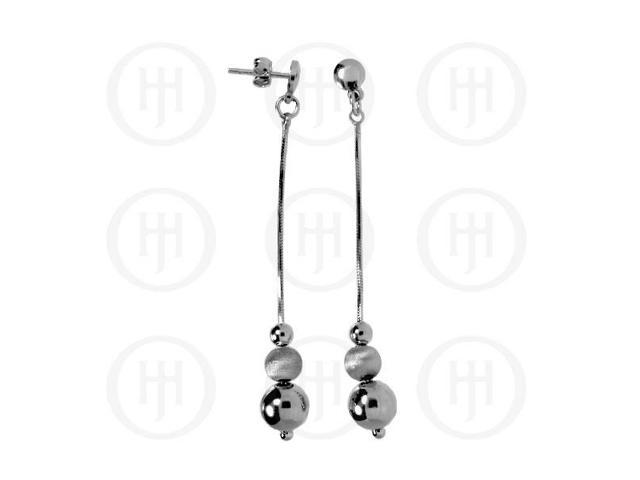 Sterling Silver Rhodium Plated Dangle Ball Earrings