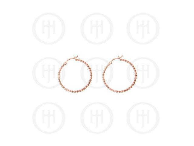 Sterling Silver Fancy Italian Rose Colour Plated Hoop Earrings