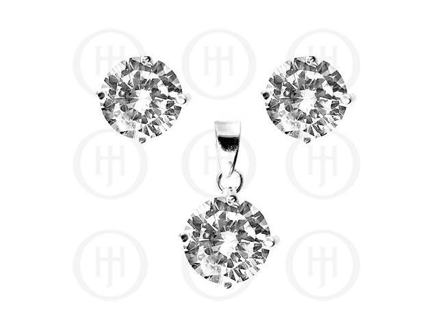 Sterling Silver Round CZ Stud Earrings White Set