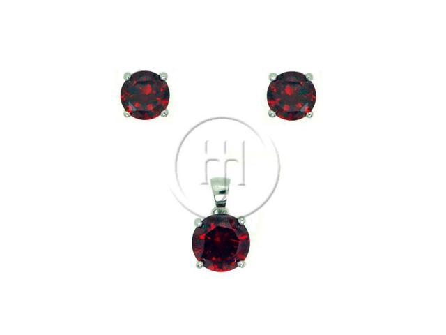 Sterling Silver Round Stud Earrings Set Garnet CZ
