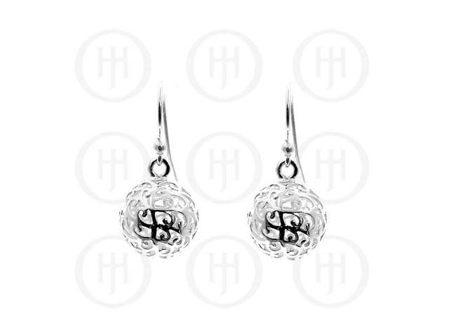Sterling Silver Ball Carved Dangle Earrings 15mm