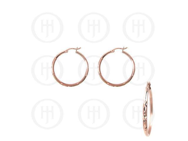 Sterling Silver Fancy Italian Rose Colour Plated Hoop Earrings