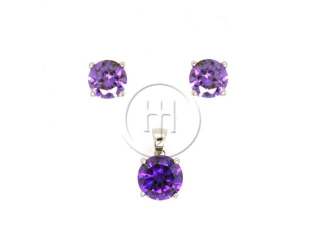Sterling Silver Round Stud Earrings Set Purple CZ