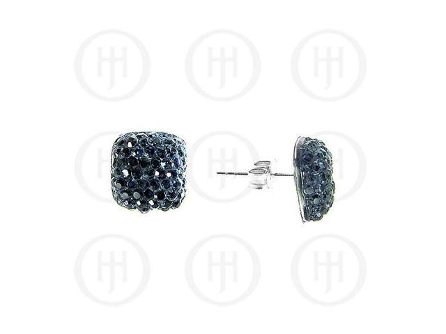 Sterling Silver Assorted CZ Shamballa Stud Earrings Black