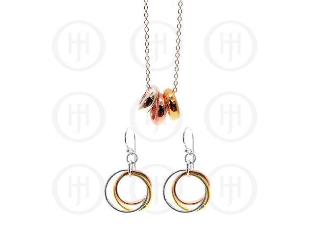 Sterling Silver Tri-Colour Earrings Pendant Set