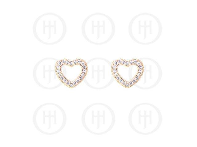Sterling Silver Rose Colour Plated Assorted CZ Cutout Heart Stud Earrings