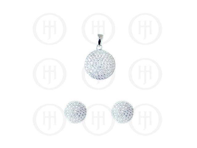 Sterling Silver Rhodium Plated Assorted CZ Circle Pendant and Stud Earrings Set
