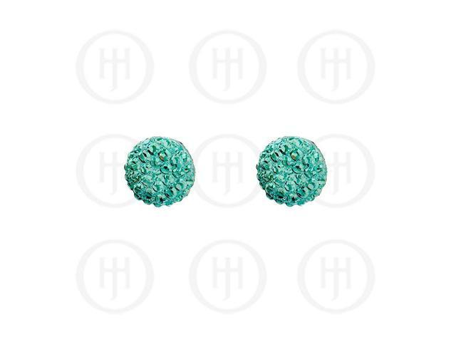 Sterling Silver Assorted CZ Shamballa Stud Earrings Teal