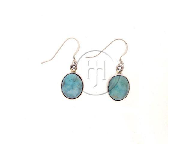 Sterling Silver Stone Earrings Larimar Oval