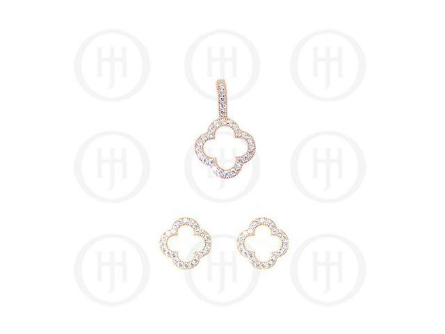 Sterling Silver Rose Colour Plated Assorted CZ Designer Inspired Cutout Pendant and Stud Earrings Set