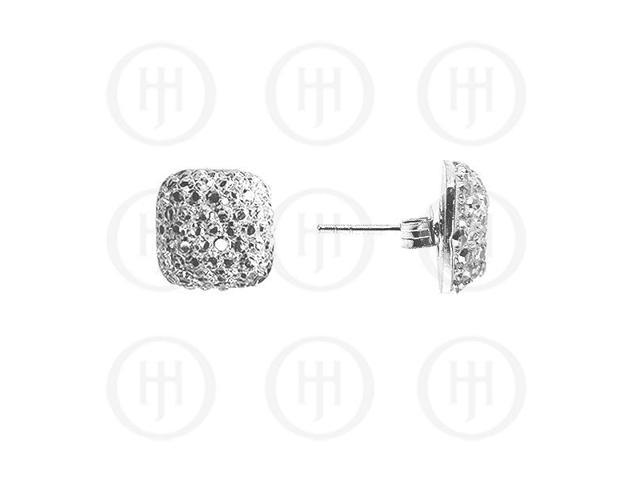 Sterling Silver Assorted CZ Shamballa Stud Earrings WHITE