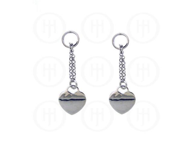 Sterling Silver Dangle Rhodium Plated Heart Earrings