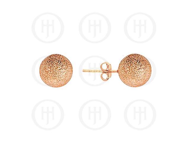 Sterling Silver Ball 10mm Stud Earrings Sandblasted Rose Colour