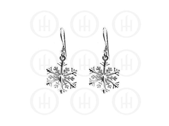 Sterling Silver Dangle D/C Snow Flake Earrings