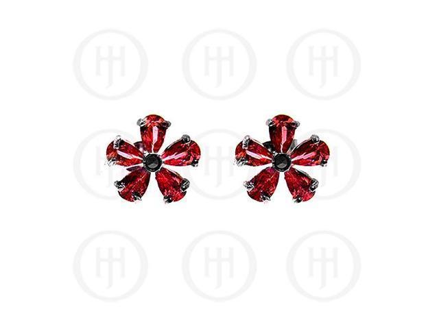 Sterling Silver Marcasite Stud Earrings Garnet