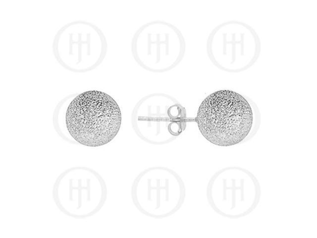 Sterling Silver Ball 10mm Stud Earrings Sandblasted Sterling Silver Colour