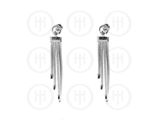 Sterling Silver Rhodium Plated Calza Dangle Earrings