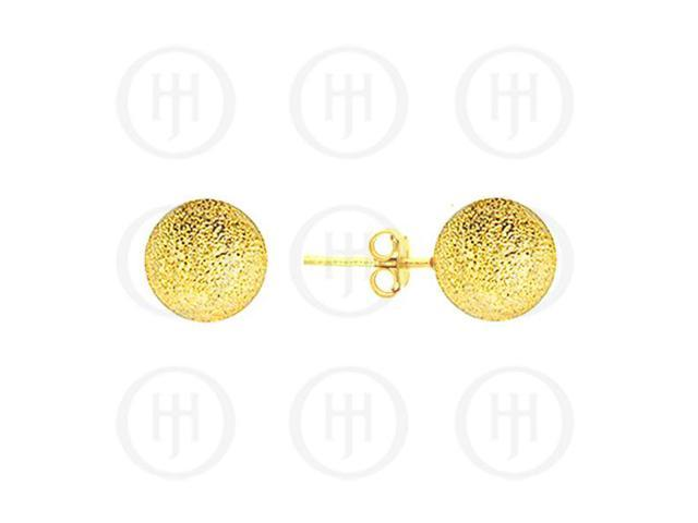 Sterling Silver Ball 10mm Stud Earrings Sandblasted Yellow Colour