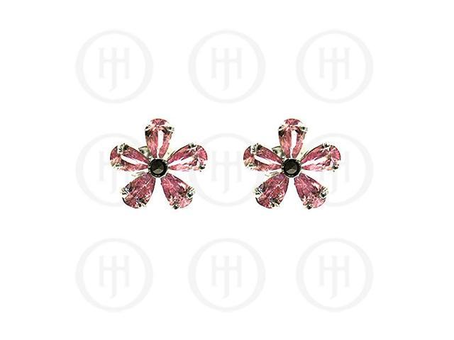 Sterling Silver Marcasite Stud Earrings Pink CZ