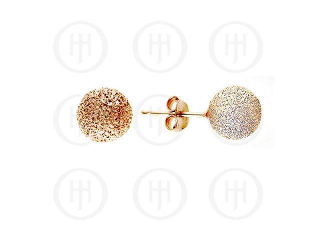 Sterling Silver Ball 12mm Stud Earrings Sandblasted Rose Colour