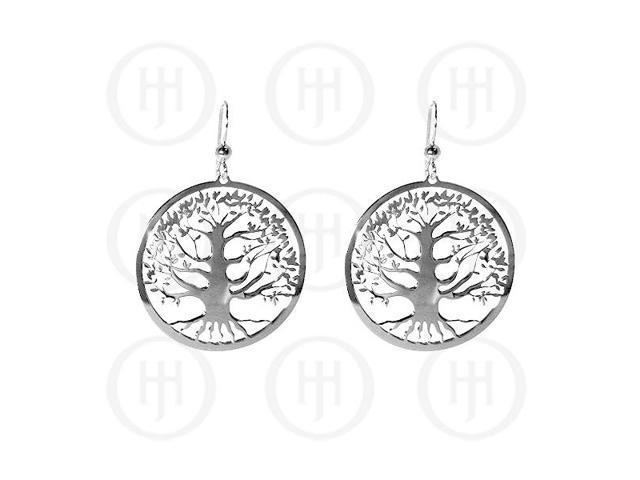 Sterling Silver Dangle Tree of Life Earrings 30mm