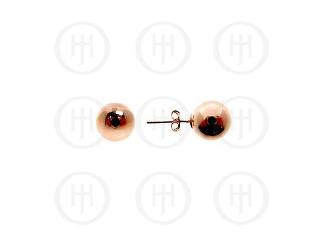 Sterling Silver Ball 8mm Stud Earrings Rose Colour
