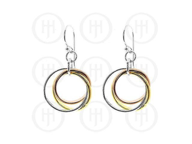 Sterling Silver Dangle Tri-Colour Earrings