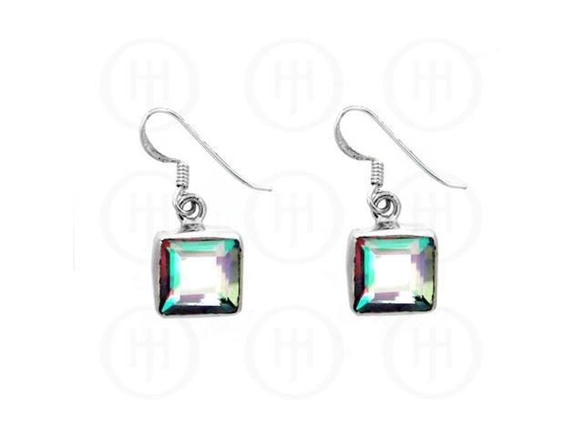 Sterling Silver Stone Earrings Mystic Topaz Square