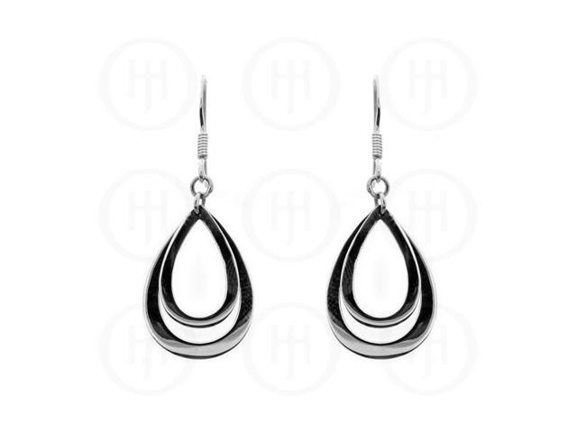 Sterling Silver Double Tear-Drop Dangle Earrings
