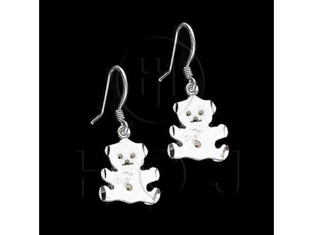 Sterling Silver Dangle Earrings Bear