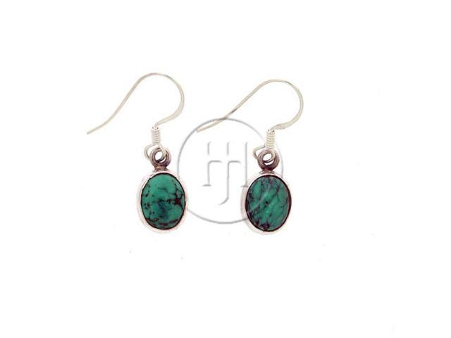 Sterling Silver Stone Earrings Turquoise Oval