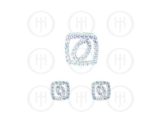 Sterling Silver Rhodium Plated Assorted CZ Cutout Pendant and Stud Earrings Set