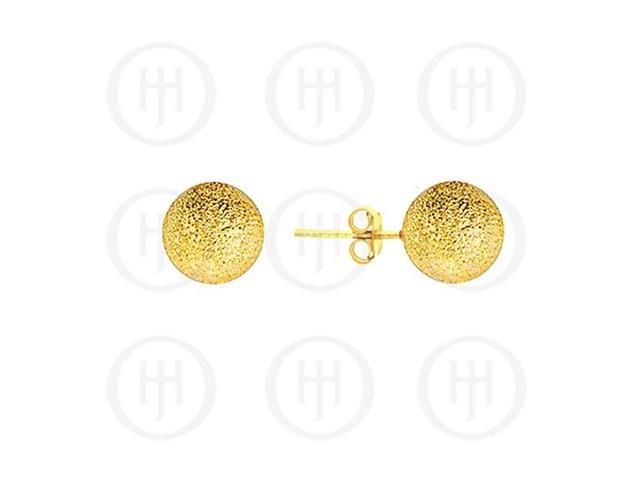 Sterling Silver Ball 8mm Stud Earrings Sandblasted Yellow Colour