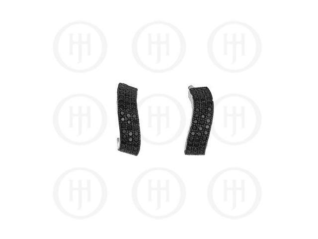Sterling Silver Micro Pave Black CZ Dangle Earrings
