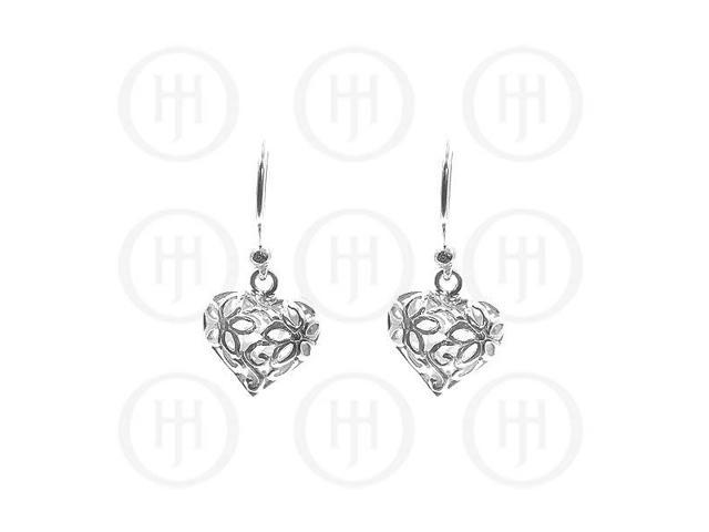 Sterling Silver Heart and Flowers Dangle Earrings