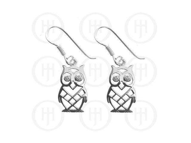 Sterling Silver Owl CZ Dangle Earrings