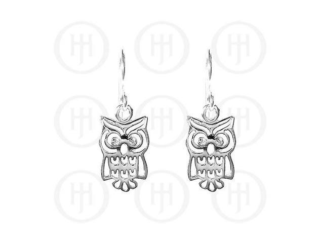 Sterling Silver Owl CZ Dangle Earrings