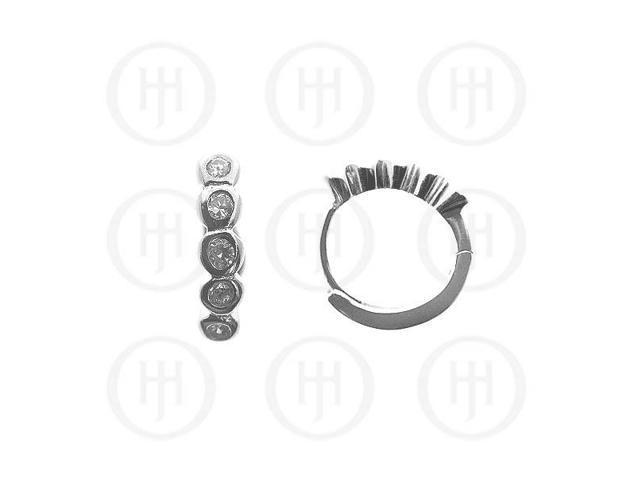 Sterling Silver Earrings Cubic Huggies Earring 12mm