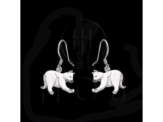 Sterling Silver Dangle Earrings Cat