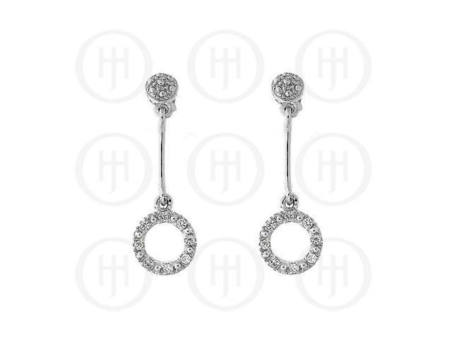 Sterling Silver Micro Pave CZ Dangle Earrings