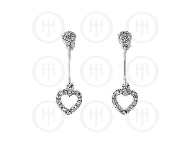 Sterling Silver Micro Pave CZ Dangle Heart Earrings