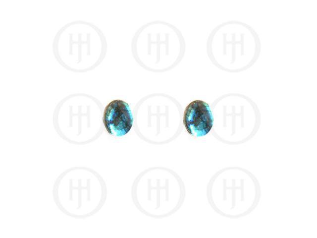 Sterling Silver Stone Stud Earrings Labradorite