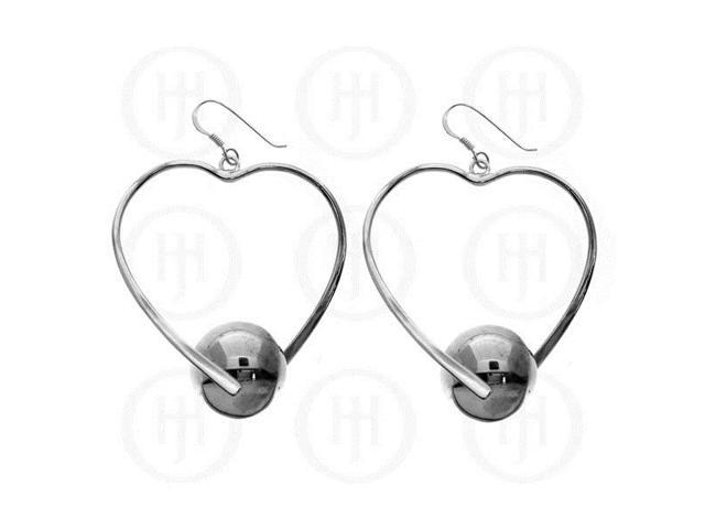 Sterling Silver Dangle Ball and Heart Earrings