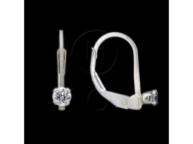 Sterling Silver CZ Earrings Round Leverback 4mm